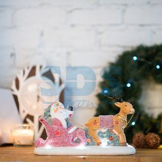 Neon-Night Керамическая фигурка «Дед Мороз в санях» 30.5х12.2х17.2 см