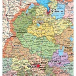 Настенная карта РФ политико-административная 1:5,5млн.,1,6x1,0м.
