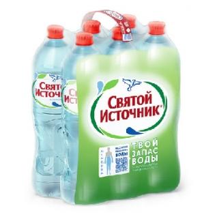 Вода питьевая Святой Источник пэт 1,5л газ.6шт/уп