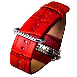 Ремешок кожаный iBacks Bamboo Knots Leather для Apple Watch 44мм/ 42мм (классическая пряжка) - (ip60178) Red - Красный