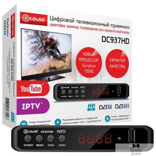 D-Color Ресивер DVB-T2 D-Color DC937HD Sunplus 1509C, DVB-T2 Пластик, RCA, HDMI, USB, WI Fi (Опция), LED-дисплей, Внешний БП (5V)