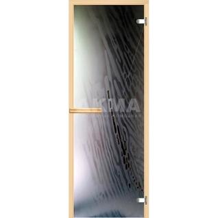 Дверь для бани АКМА АРТ с Фьюзингом ВЕТЕР 7х19 (коробка осина или липа)