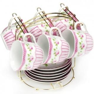 Сервиз чайный 6 чашек(200мл)+ 6 блюдец на подставке LR(х8) (25942)