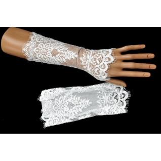 Перчатки свадебные №232, белый (22 см, шантильи, пайетки)