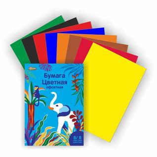 Бумага цветная №1School, 8л, 8цв, А4, Живая природа, офсет