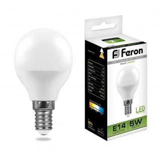 Светодиодная лампа Feron LB-38 (5W) 230V E14 4000K G45