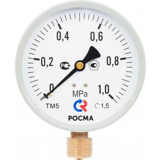Манометр 100хМ20х1,5 16 бар ТМ-510Р 10 М2 (нижнее радиальное подкл., корпус сталь, минстекло) РОСМА