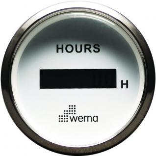 Wema Счетчик моточасов с ЖК-дисплеем белый/серебряный Wema ICUR-WS 12/24 В 52 мм