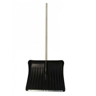 Лопата снеговая пластик 495x390мм, с оц.планкой, с дер.чер. (№2)
