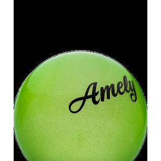 Мяч для художественной гимнастики Amely Agb-102 19 см, зеленый, с блестками
