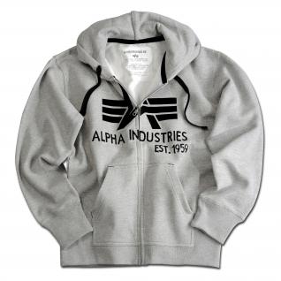 "Alpha Industries Толстовка Alpha Industries с большим ""A"", молния, цвет серый"