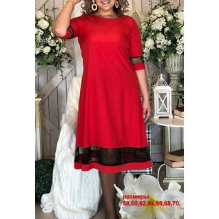 Платье лайт очень большого размера с шифоновой вставкой р.58-70