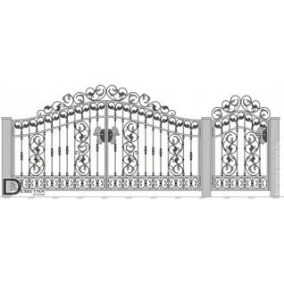 Кованые ворота калитка В-030 (2м x 3.5м)
