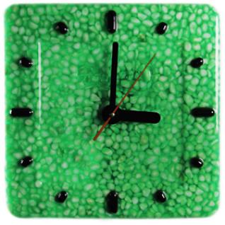 Часы настенные D-29 см Белый мрамор в зеленой смоле