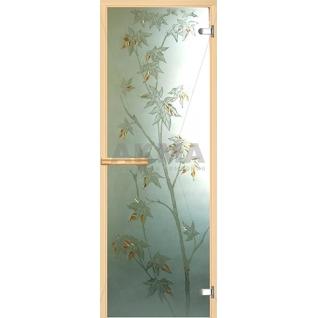 Дверь для бани АКМА АРТ с Фьюзингом КЛЁН 7х19 (коробка осина или липа)