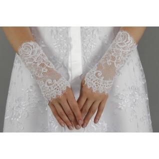 Перчатки свадебные №143, белый (короткие)