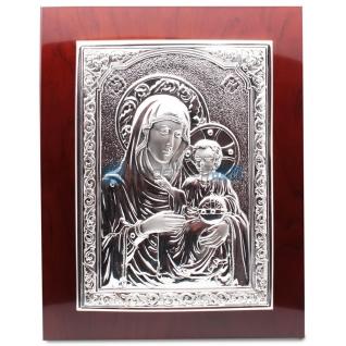Икона Божией Матери, посеребрение матовое