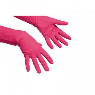 Перчатки резиновые Vileda Profes латекс хлопков.напыл красный р-р S 100749