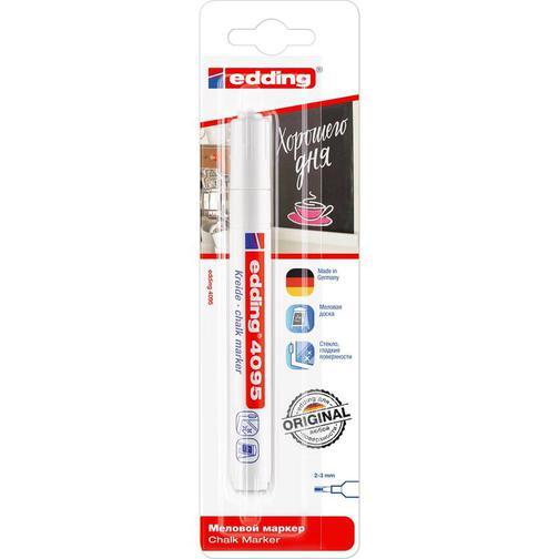Маркер меловой Edding E-4095/049 chalk marker белый рус/бл. 37857538 1