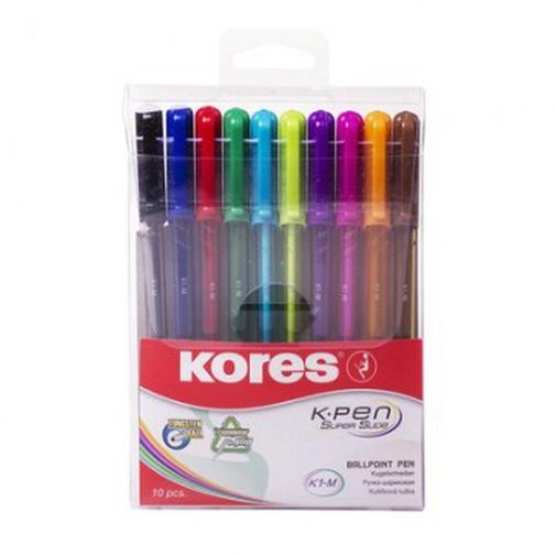Ручка шариковая Kores K1-M, 10 цв/набор в пластиковом пенале 37874180 1