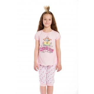 Миньоны Пижама для девочки (футболка длинный рукав и брюки), Миньоны, цвет: розовый, размер: 104(60)