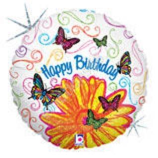 Бабочки и цветок С днём рождения Голография