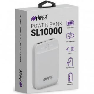 Внешний аккумулятор 10000 mAh, Li-Pol, 2xUSB, 2.1A+2.1A, Hiper, бел,SL10000