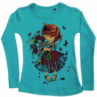 Лонгслив Девочка с цветами бирюзовый