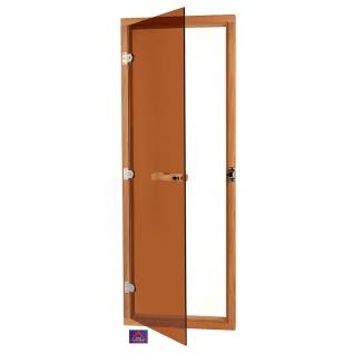Дверь SAWO 730-4SGD, бронза с порогом, универсальная, кедр