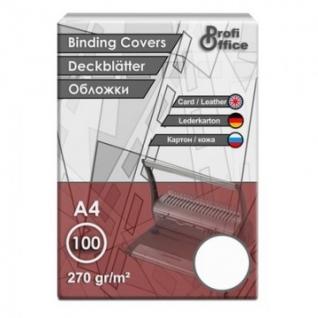 Обложки для переплета картонные ProfiOffice белые кожаА4,270г/м2,100шт/уп.