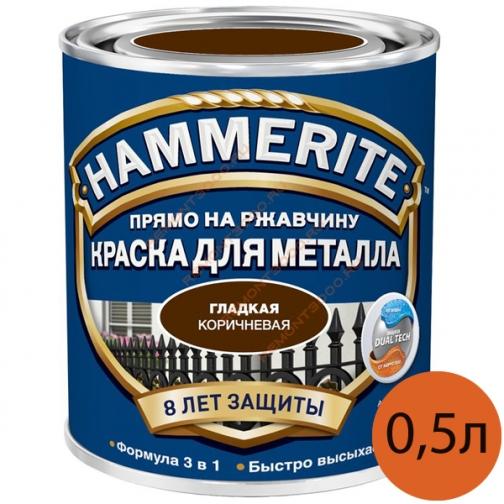 ХАММЕРАЙТ краска по ржавчине коричневая гладкая (0,5л) / HAMMERITE грунт-эмаль 3в1 на ржавчину коричневый гладкий глянцевый (0,5л) Хаммерайт 36983676