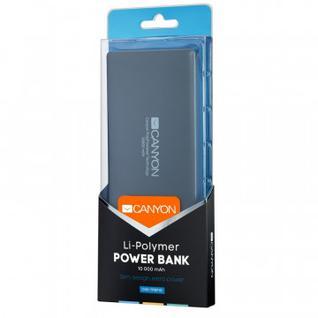 Внешний аккумулятор 10000 mAh, Li-Pol, 1xUSB, 2A, Canyon, сер,CNS-TPBP10DG