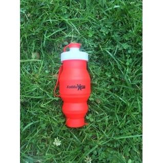 Бутылка для воды силиконовая складная 450 мл красная Hobbyxit