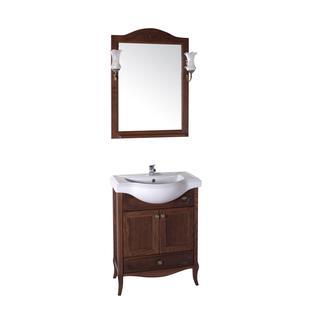 Зеркало Салерно 65 с полкой+светильники (Антикварный орех) ASB-Woodline