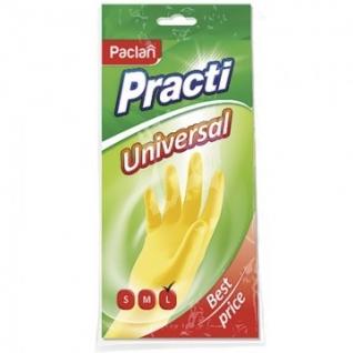Перчатки резиновые PACLAN Practi латекс хлопковое напыление в ассорт р-р L