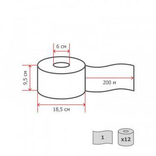 Бумага туалетная д/дисп Luscan Economy 1слвтор200м12рул/уп