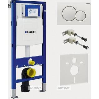 Система инсталляции для унитазов Geberit Duofix UP320 111.300.00.5 с белой кнопкой смыва, шумоизоляцией и креплениями