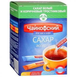 Сахар в стиках Чайкофский ассорти (белый и тростниковый) 5 гр (60 шт/уп.)
