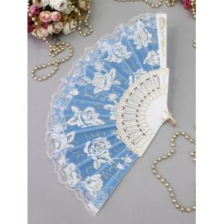 Веер №71 Розы, голубой/пластик, ткань/