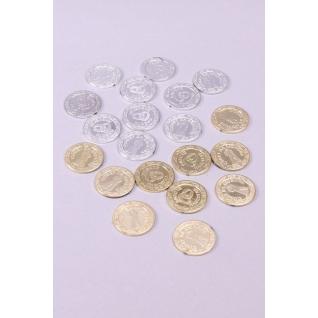 Декор  монеты, золото/серебро, 3 см. /20 шт.упак/