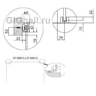 Раздвижная система для одной откатной двери с доводчиками, L- 2000 мм, боковое крепление