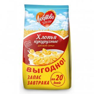 Завтрак хлопья кукурузные Любятово, 600г