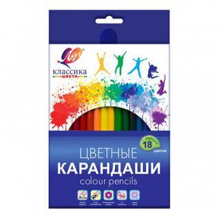 Карандаши цветные 18 цв, 6-гран, ЛУЧ Классика, 29С 1711-08