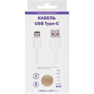 Кабель USB 2.0 - USB Type-C, М/М, 2 м, Red Line, белый, УТ000017103