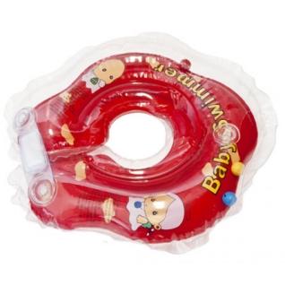 Круг для купания BabySwimmer ВS02R-B красный (полуцвет+внутри погремушка) 3-12кг