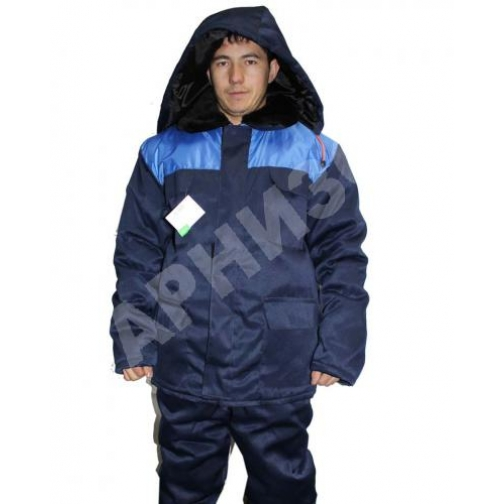 Куртка утепленная на молнии ткань гретта темно синий с васильковым 9145