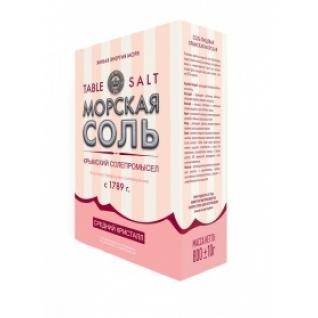 Крымская розовая соль. Мелкий, средний помол. 800 гр. картонная пачка