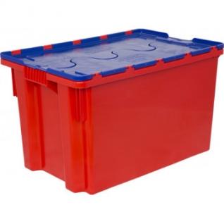 Ящик п/э 600х400х350 сплошной синий, с крышкой оранжевой (603-1)