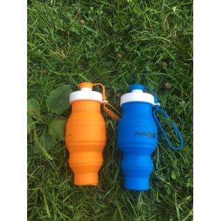 Бутылка для воды силиконовая складная 450 мл голубая Hobbyxit