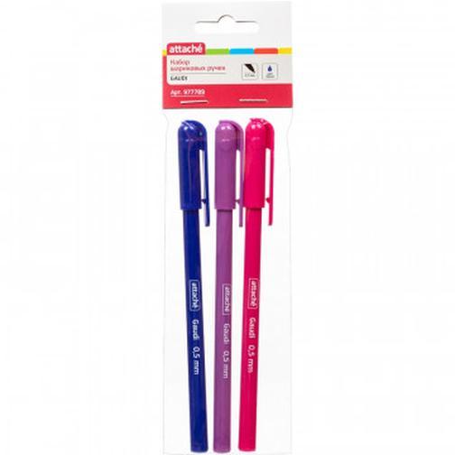 Ручка шариковая Attache Gaudi, 0,5мм, синий, неавт., б/манж.,3 шт/уп. 42471646